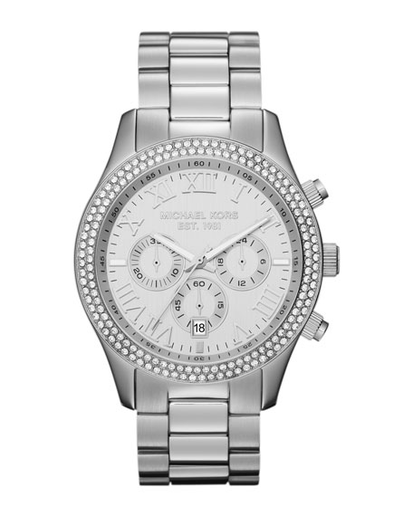 Mid-Size Silver Color Stainless Steel Layton Chronograph Glitz Watch