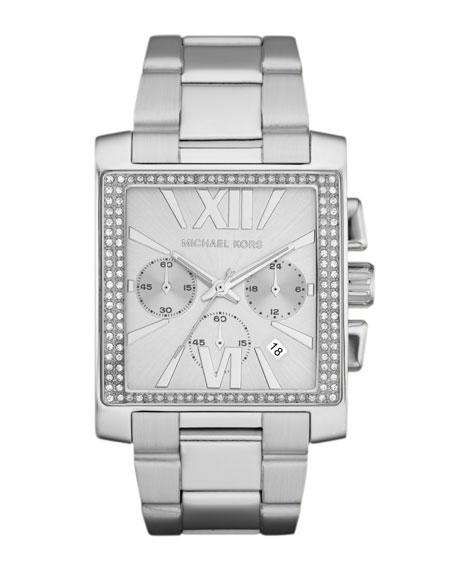 Oversized Silver Color Stainless Steel Gia Chronograph Glitz Watch
