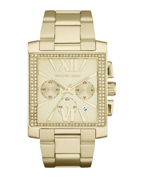 Oversized Golden Stainless Steel Gia Chronograph Glitz Watch