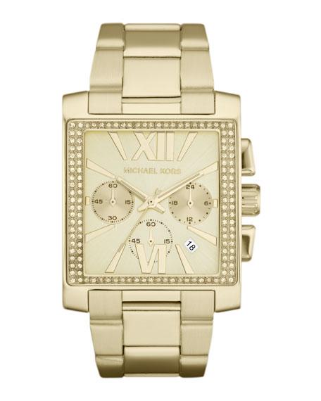 Oversized Golden Stainless Steel Gia Chronograph Glitz Watch