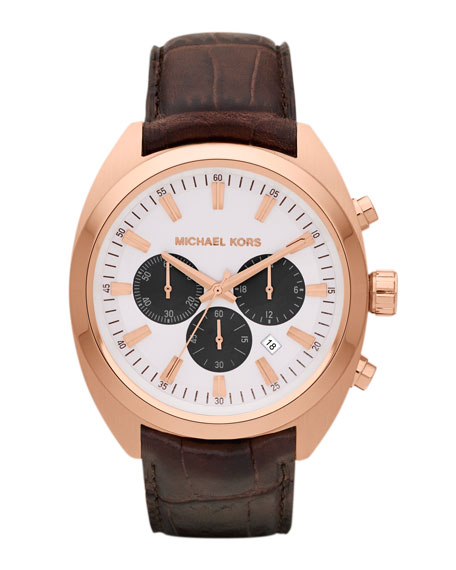 Chocolate Leather and Rose Golden Stainless Steel Dean Chronograph Watch
