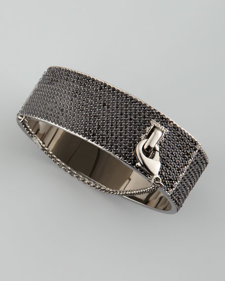 Pave Crystal Safety Chain Cuff, Gunmetal