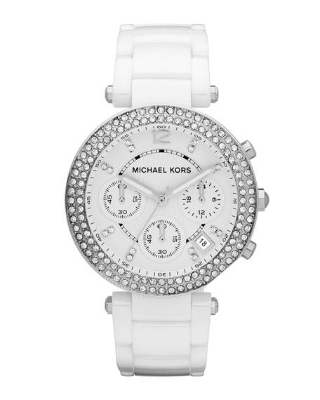 White Acetate Parker Three-Hand Glitz Watch