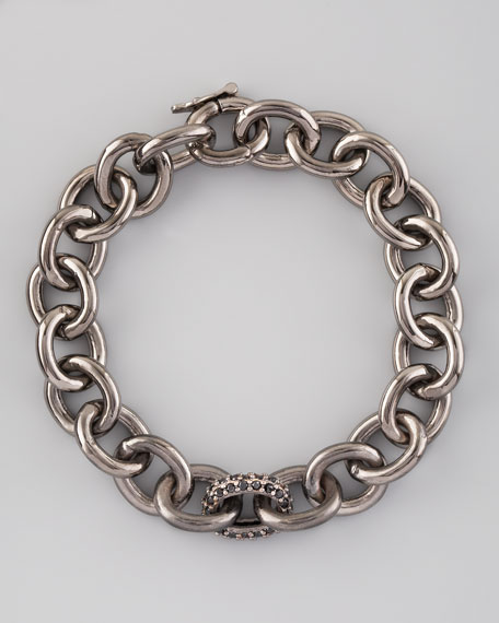 Small Pave-Link Chain Bracelet, Gunmetal