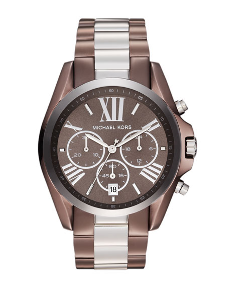Mid-Size Espresso and Silver Color Stainless Steel Bradshaw Chronograph Watch