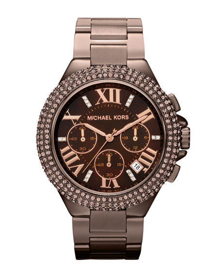 Mid-Size Espresso Stainless Steel Camille Chronograph Glitz Watch