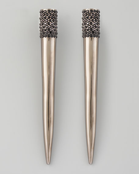 Pave Crystal Spike Earrings, Gunmetal