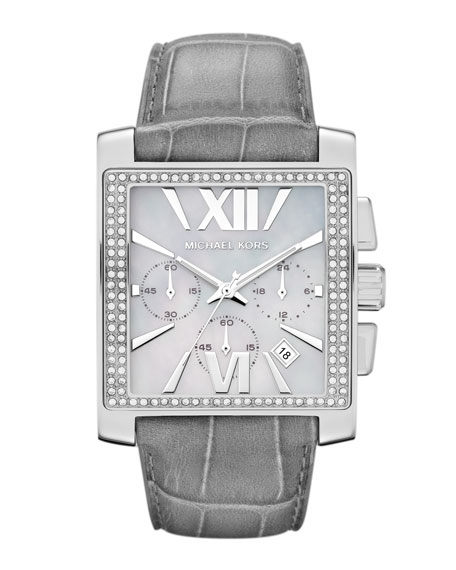 Oversized Gray Leather and Silver Color Stainless Steel Gia Chronograph Glitz Watch