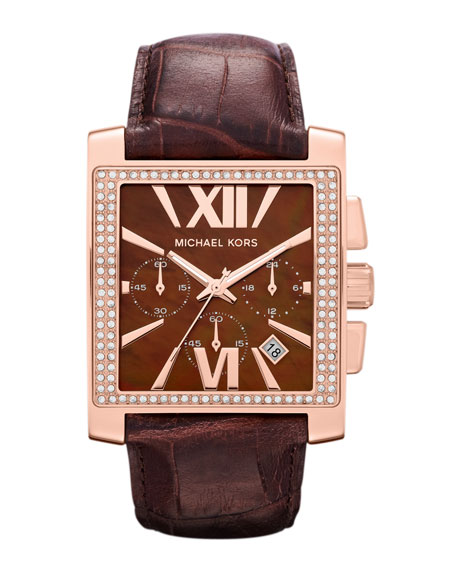 Oversized Chocolate Leather and Rose Golden Stainless Steel Gia Chronograph Glitz Watch