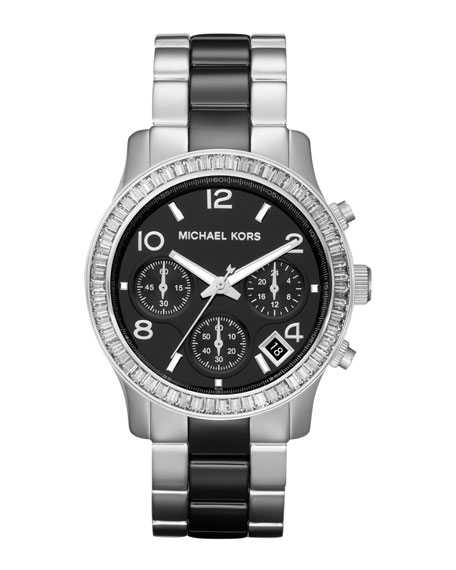 Mid Size Black Ceramic and Silver Color Stainless Steel Runway Chronograph Glitz Watch
