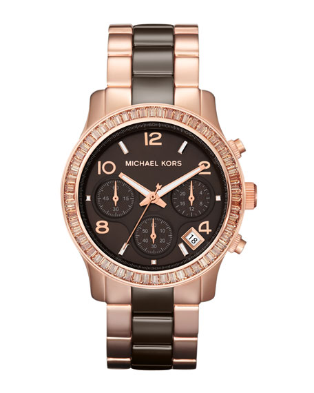 Mid-Size Espresso Ceramic and Rose Golden Stainless Steel Runway Chronograph Glitz Watch