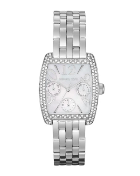 Mid-Size Silver Color Stainless Steel Emma Multifunction Glitz Watch