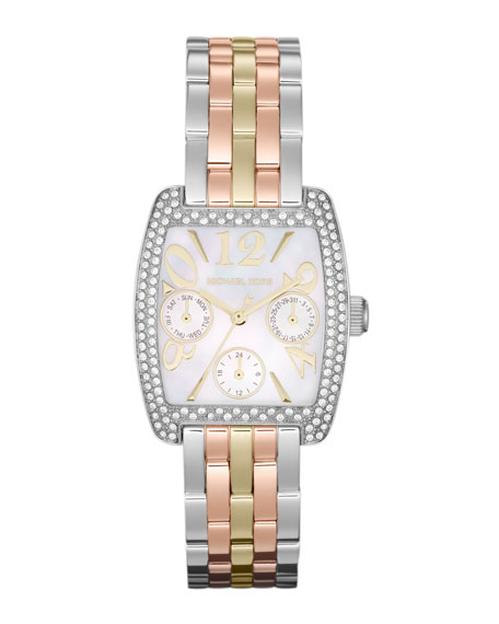 Mid-Size Trilogy Stainless Steel Emma Multifunction Glitz Watch