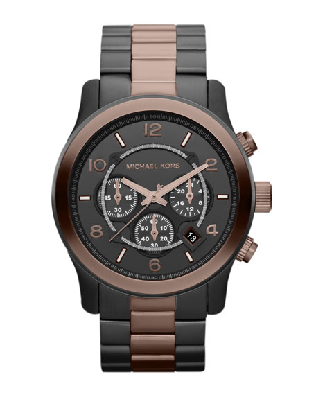 Espresso and Gunmetal Stainless Steel Runway Chronograph Watch