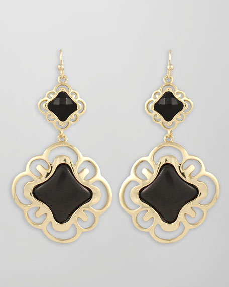 Double-Drop Scroll Earrings, Black