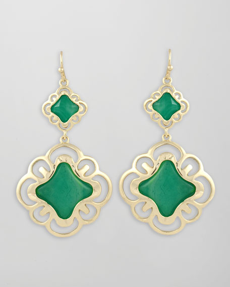 Double-Drop Scroll Earrings, Green