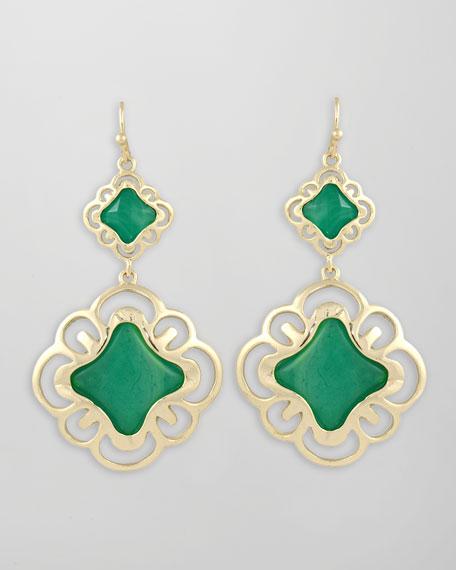 Double-Drop Scroll Earrings, Green