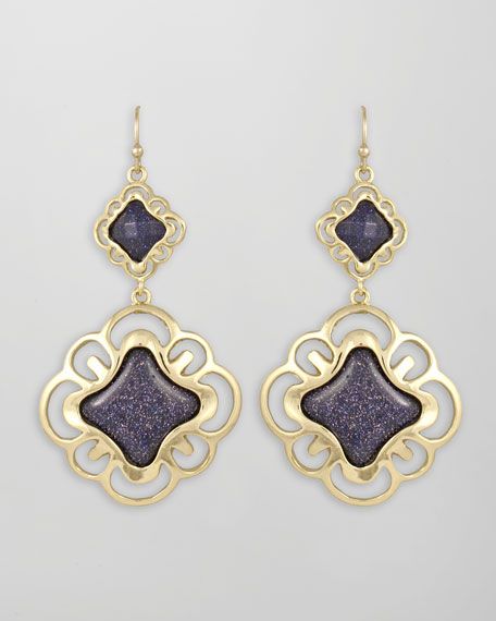 Double-Drop Scroll Earrings, Blue