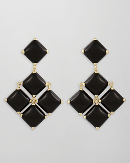 Cushion Cabochon Earrings, Black