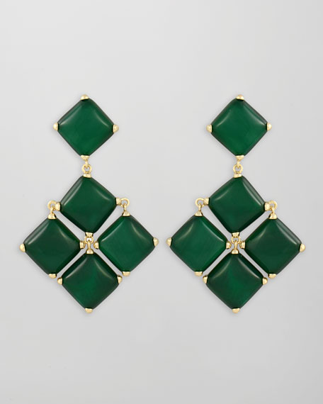 Cushion Cabochon Earrings, Green