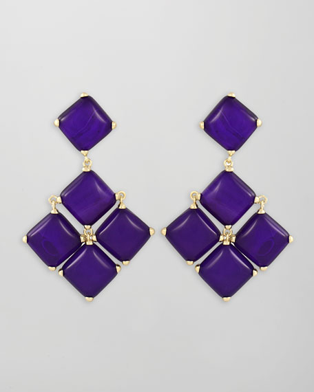 Cushion Cabochon Earrings, Purple