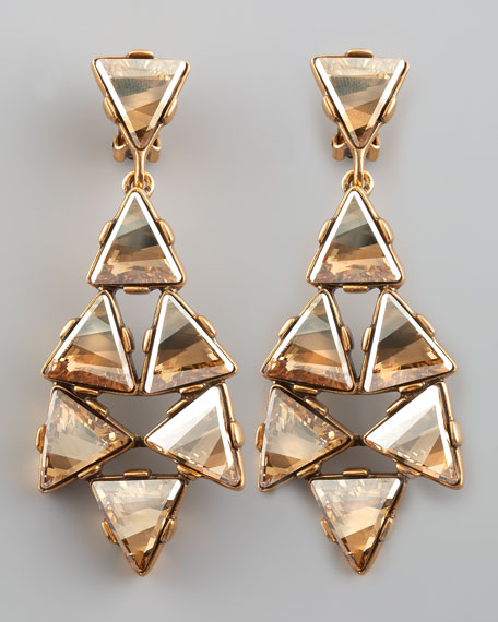 Triangle Cluster Clip Earrings, Golden