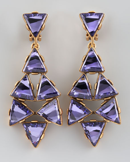 Triangle Cluster Clip Earrings, Purple
