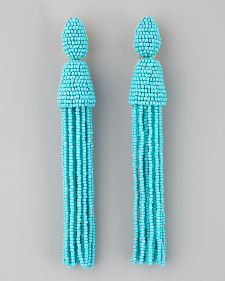 Long Beaded Tassel Earrings, Turquoise