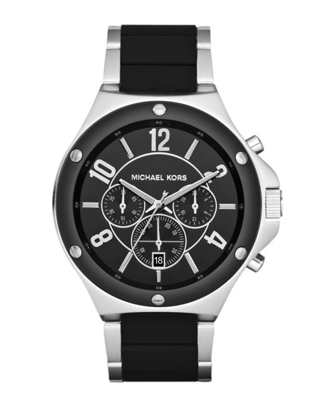 Black Silicone and Silver Color Stainless Steel Rocktop Chronograph Watch
