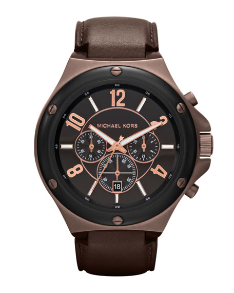 Chocolate Leather and Espresso and Black Stainless Steel Rocktop Chronograph Watch
