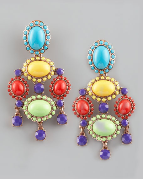 Cabochon Drop Clip Earrings, Multicolor