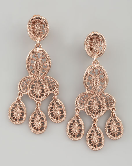Looped Lace Cluster Earrings, Rose Golden