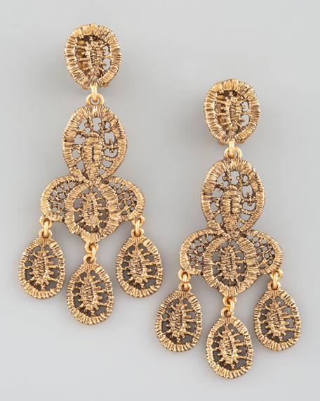 Looped Lace Cluster Earrings, Yellow Golden