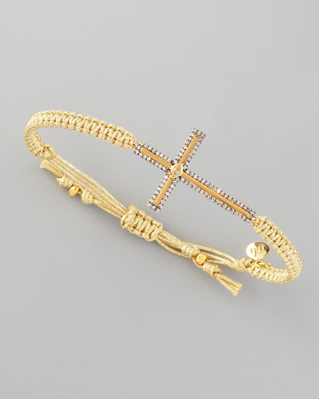 Pave Cross Bracelet, Gold