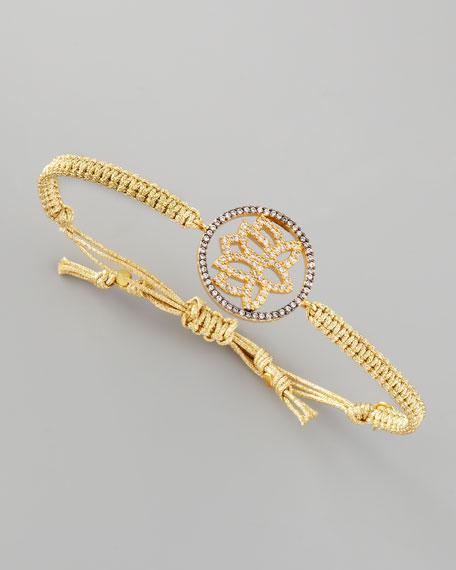 Lotus-Charm Braided Bracelet, Gold