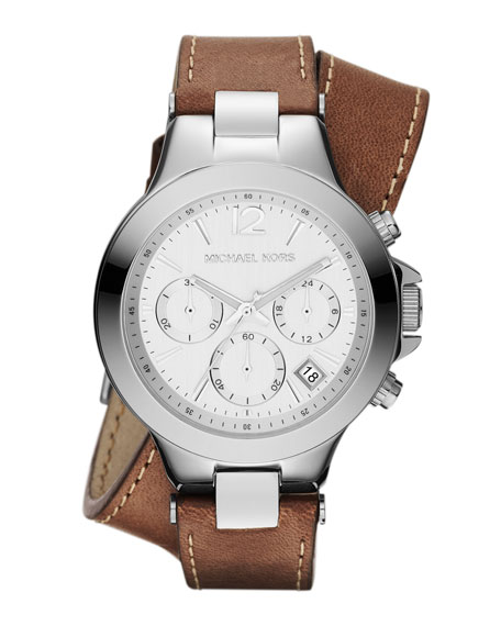 Mid-Size Chocolate Leather and Silver Color Stainless Steel Peyton Chronograph Watch