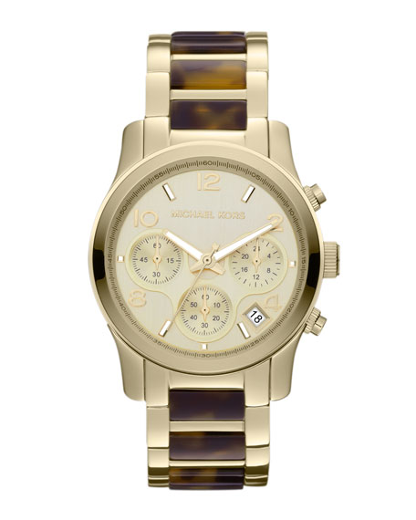 Mid-Size Tortoise Acetate and Golden Stainless Steel Runway   Chronograph Watch