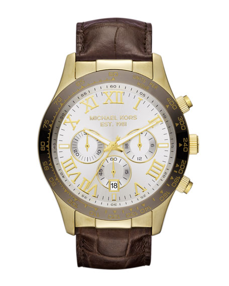 Chocolate Leather and Espresso and Golden Stainless Steel Layton Chronograph Watch