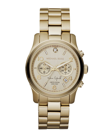 Mid-Size NY Limited Edition Golden Stainless Steel Runway Chronograph Glitz Watch