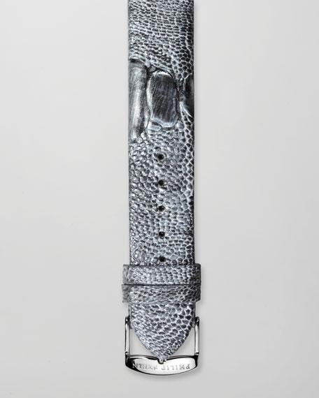 18mm Ostrich Strap, Gunmetal