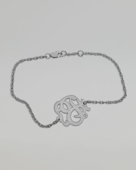Small Swirly Initial Bracelet, Silver