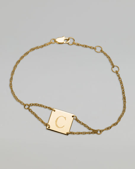 Initial-Engraved Square Bracelet, Yellow Gold
