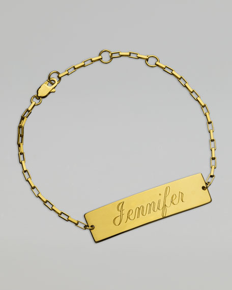 Rectangle Nameplate Bracelet, Yellow Gold