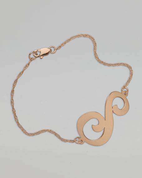 Swirly Initial Bracelet, Rose Gold