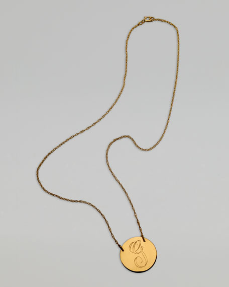 Letter-Engraved Pendant Necklace, Yellow Gold