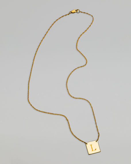 Square Letter-Pendant Necklace, Yellow Gold