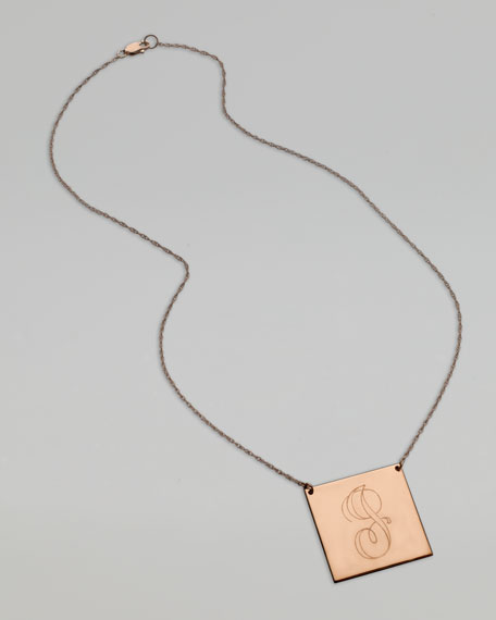 Square Swirly Letter-Pendant Necklace, Rose Gold
