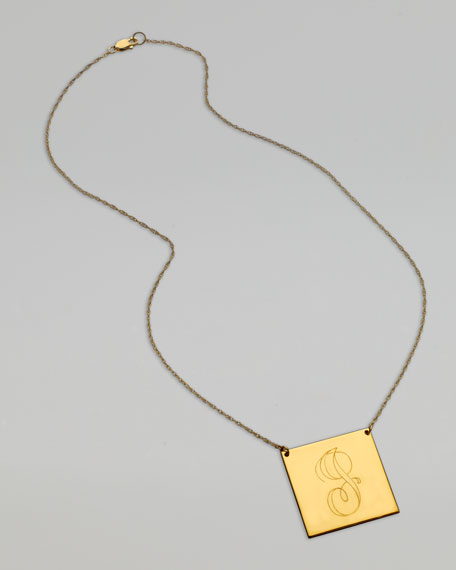 Square Swirly Letter-Pendant Necklace, Yellow Gold