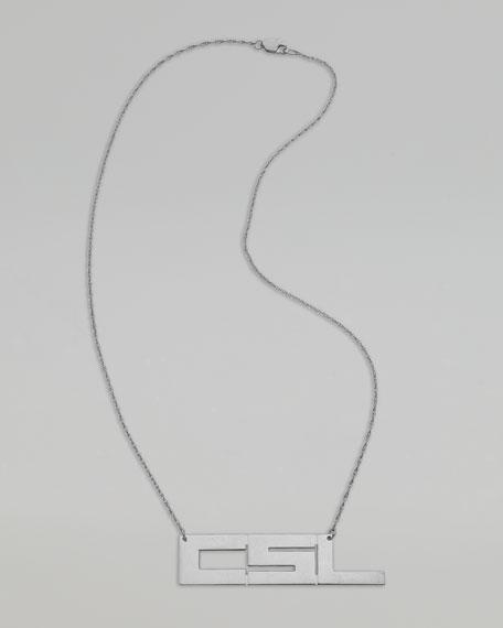 Horizontal Monogram Necklace, Silver