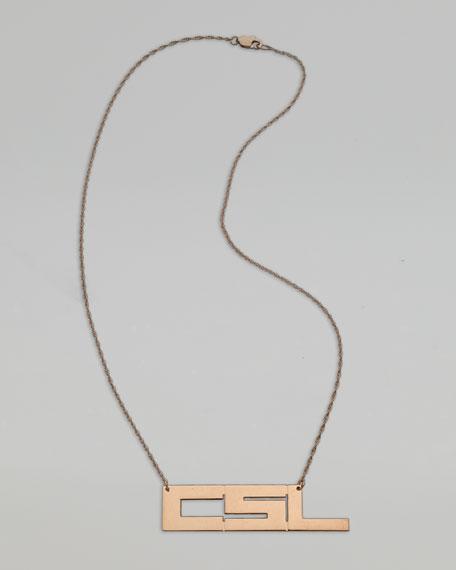 Horizontal Monogram Necklace, Rose Gold